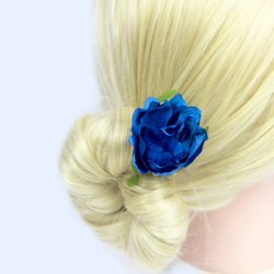 Заколка, цветок роза - синий, 5 см, 1 шт