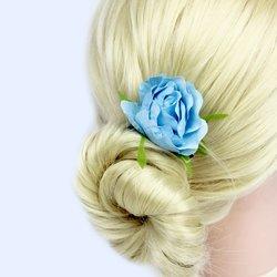 Заколка, цветок роза - голубой, 5 см, 1 шт