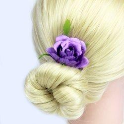 Заколка, цветок роза - сиреневый, 5 см, 1 шт