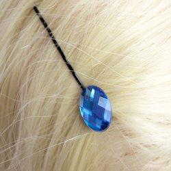 Невидимка с камнем - голубой, 1 шт
