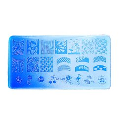 Пластина для стемпинга YRE XY-L09  пластик, синий