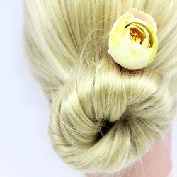 Заколка, роза бутон маленький - айвори, 1 шт