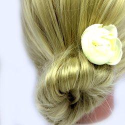 Заколка, роза бутон - айвори, 5 см, 1 шт