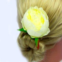 Заколка, роза бутон большой - айвори, 8 см, 1 шт