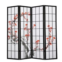 Ширма Viki - деревянный японский, 4 сегментный (черный сакура)