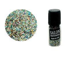 Паетки в бутылочке Salon стружка полоски серебро с отливом