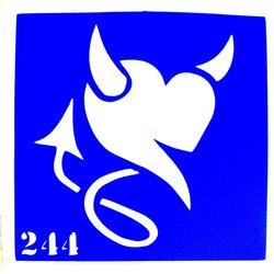 Трафарет для тату №244 YRE - сердце чертик