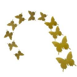 Бабочки на наклейке Золотой Металлик 3 размера 12 шт