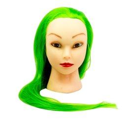 Учебная голова для причесок, манекен тренировочный для парикмахера YRE Girl, 60 см (зеленый)