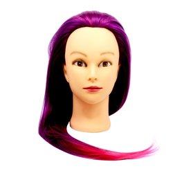 Учебная голова для причесок, манекен тренировочный для парикмахера YRE Girl, 60 см (фиолетово-малин)