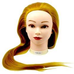 Учебная голова для причесок, манекен тренировочный для парикмахера YRE Girl, 60 см (желтый блонд)