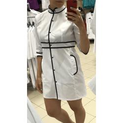 """Медицинский халат """"Kim"""", бело-черный"""