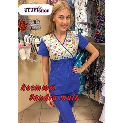 """Медицинский костюм с рисунком """"Sandra print"""", синий"""