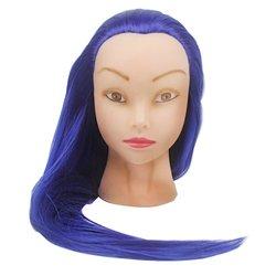 Учебная голова для причесок, манекен тренировочный для парикмахера YRE Girl, 60 см (синий)