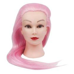 Учебная голова для причесок, манекен тренировочный для парикмахера YRE Girl, 60 см (розовый)
