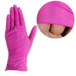 Перчатки нитриловые без талька - розовый, размер М, 100 шт