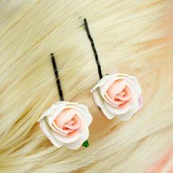 Невидимка, фоамиран цветок - бело-розовый, 2,5см, 1 шт