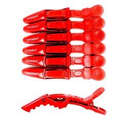 Зажимы для волос TONI&GUY пластик 11,5 см, красный,  6 шт
