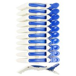 Зажимы для волос YRE 11см пластик бело- синий, 10 шт