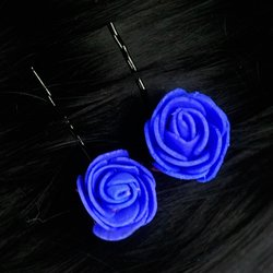 Невидимка, фоамиран цветок - синий, 2,5см, 1 шт
