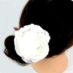 Заколка, роза бутон большой,10 см  - белый, 1 шт