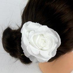 Заколка, роза бутон большой, 8 см  - белый, 1 шт
