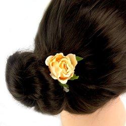 Заколка, цветок роза - персик, 5 см, 1 шт