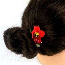 Заколка, цветок мак - красный, 5 см, 1 шт