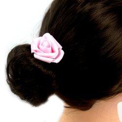 Заколка, фоамиран цветок - розовый, 5 см, 1 шт