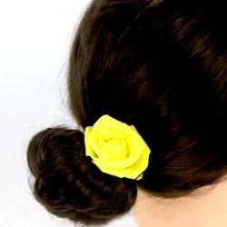 Заколка,фоамиран цветок - желтый, 5 см, 1 шт
