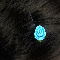 Невидимка, фоамиран цветок -  голубой, 2,5см, 1 шт