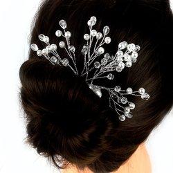 Плетеный свадебный гребень для волос из жемчуга и стекляруса (456)
