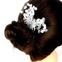 Плетеный свадебный гребень для волос из жемчуга и стекляруса (459)