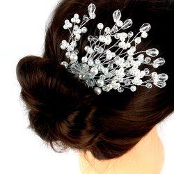 Плетеный свадебный гребень для волос из жемчуга и стекляруса (464)
