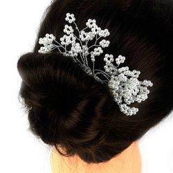Плетеный свадебный гребень для волос из жемчуга и стекляруса (466)