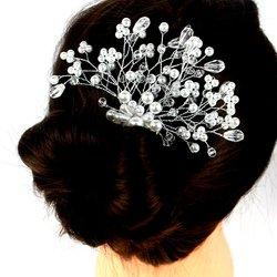Плетеный свадебный гребень для волос из жемчуга и стекляруса (460)