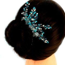 Плетеный свадебный гребень для волос из стекляруса, прозрачно - голубой