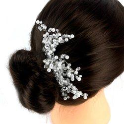 Плетеный свадебный гребень для волос из стекляруса с бусинками серого металика
