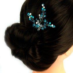 Свадебный шпилька с плетенным стеклярусом и бело - голубыми бисером