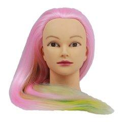 Учебная голова для причесок, манекен тренировочный для парикмахера YRE Girl, 60 см(розово-желто-бир)