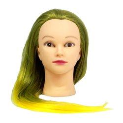 Учебная голова для причесок, манекен тренировочный для парикмахера YRE Girl, 60 см (зелено-желтый)