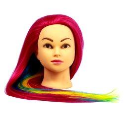 Учебная голова для причесок, манекен тренировочный для парикмахера YRE Girl, 60 см(малинов-сине-жел)