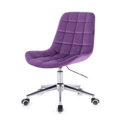 Косметический стул HR-590 (Польша) на колесиках - фиолетовый велюр