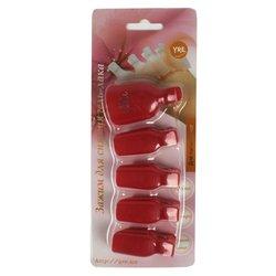 Зажим прищепка YRE для снятия гель-лака, для пальцев ног, красный, 5 шт