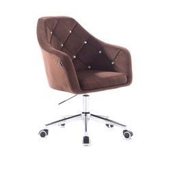 Кресло парикмахерское HC-830 (Польша) на колесиках - коричневый велюр