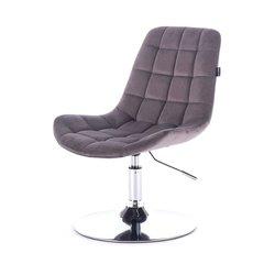 Косметический стул HR-590 (Польша) на диске - графитовый велюр
