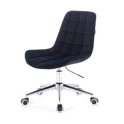 Косметический стул HR-590 (Польша) на колесиках - черный велюр