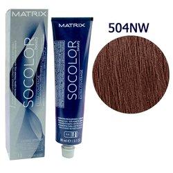 Краска для волос Matrix Socolor Beauty 504NW (натуральный теплый шатен), 90 мл