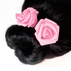 Заколка, фоамиран цветок - розовый,  8 см, 1 шт