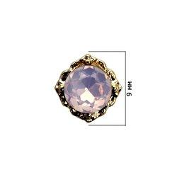 Декор для ногтей - страз розовый опал в оправе, 1 шт